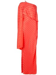 Michelle Mason One Shoulder Cape Gown Red