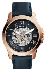 Men's Fossil 'Grant' Leather Strap Skeleton Watch 45Mm