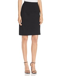 Marled Faux Leather Trim Pencil Skirt Black