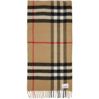 Burberry Beige Check Cashmere And Silk Wadded Scarf