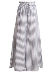 Caroline Constas Striped Paperbag Waist Trousers Blue White