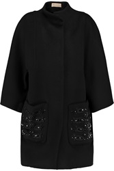 Emilio Pucci Embellished Wool And Angora Blend Coat Black