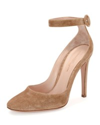 Gianvito Rossi Virna Suede Ankle Strap Pump Neutral Pattern