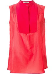 Etro Sleeveless Band Collar Blouse Red