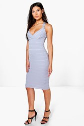 Boohoo Strappy Bandage Plunge Midi Dress Grey
