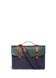 Seventy Eight Percent Dimitri Medium Leather Denim Satchel Blue Multi Colour