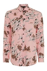 Topshop Bird In Flight Print Shirt Pink