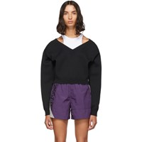 Alexanderwang.T Black Cropped Bi Layer V Neck Sweater