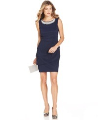 Connected Pearl Embellished Tiered Dress Navy