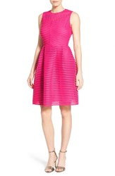 Women's Halogen Eyelet Stripe Fit And Flare Dress Pink Rouge