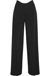 Agnona Wool Blend Crepe Wide Leg Pants Black