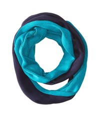 Calvin Klein Two Tone Double Face Infinity Navy Turquoise Scarves Blue