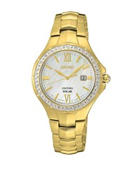 Seiko Coutura Diamond And Goldtone Finished Stainless Steel Bracelet Watch
