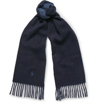 Polo Ralph Lauren Two Tone Wool Blend Scarf Navy