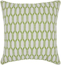 Chandra Textured Contemporary Cotton Pillow White Green 2 18 Inch