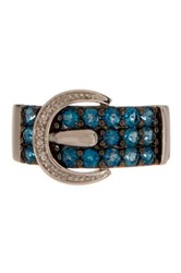 Savvy Cie Diamond And Blue Topaz Buckle Ring
