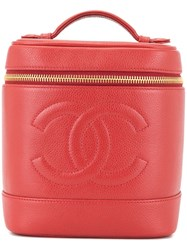 Chanel Vintage Cc Logos Cosmetic Vanity Hand Bag Red