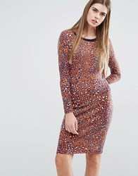 Baum Und Pferdgarten Elana Bodycon Dress In Leopard Print Multi