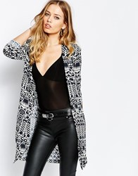 Supertrash Bensoni Throw On Jacket In Print Geo Tribal Print