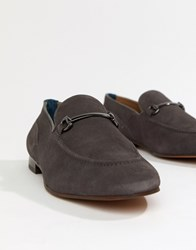 Hudson H By Banchory Bar Loafers In Grey Suede