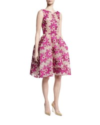 Zac Posen Floral Embroidered Sleeveless Fit And Flare Dress Magenta