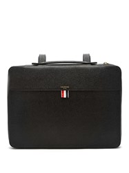 Thom Browne Top Handle Pebbled Leather Document Holder Black