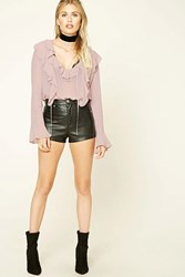 Forever 21 Contemporary Ruffle Blouse Dusty Pink