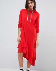 Noisy May Hoodie Dress With Asymmetric Hem Flame Scarlet Red