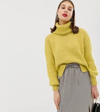 River Island Chunky Roll Neck Sweater In Yellow Yellow