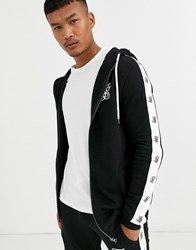 Sik Silk Siksilk Zip Thru Hoodie With Side Logo In Black