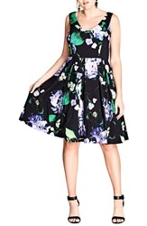 City Chic Plus Size Women's Cinematic Floral Fit And Flare Dress Black