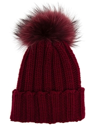 Inverni Fur Bobble Beanie Red