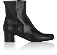 Barneys New York Women's Leather Side Zip Ankle Boots Black