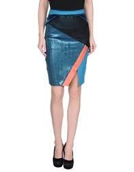 Three Floor Knee Length Skirts Azure