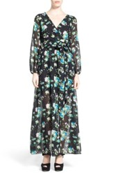Dirty Ballerina Long Sleeve Floral Print Maxi Dress Juniors Black