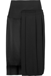 Dkny Layered Pleated Crepe Skirt Black