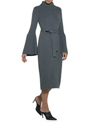 Eleventy Flare Sleeve Belted Turtleneck Sweaterdress Gray