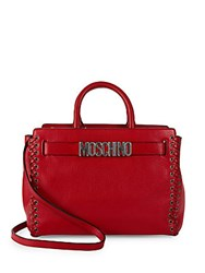 Moschino Timeless Leather Satchel Red
