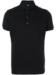 Diesel Zipped Collar Polo Shirt Black