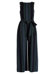 Ace And Jig Allovers Striped Cotton Jumpsuit Green Multi