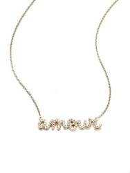 Sydney Evan Diamond And 14K Yellow Gold Amour Necklace Gold Crystal