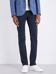Corneliani Slim Fit Tapered Stretch Cotton Trousers Navy
