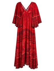 Valentino The Garden Of Earthly Delights Print Silk Dress Red Multi