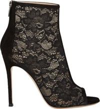 Gianvito Rossi Lace And Suede Ankle Booties Black
