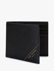 Ted Baker Hidd Contrast Stitch Leather Wallet Black