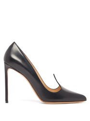 Francesco Russo Pointed Upper Leather Pumps Black