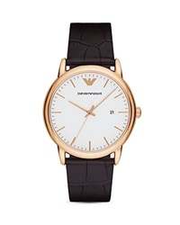 Emporio Armani Crocodile Embossed Leather Strap Watch 43Mm White
