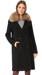 Soia And Kyo Farrah Coat With Fur Trim Black