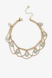 Topshop Stone Drop Anklet Turquoise