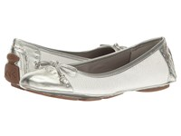Anne Klein Buttons White Silver White Synthetic Women's Flat Shoes